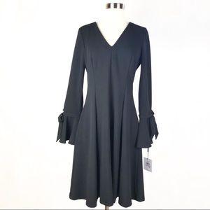 Calvin Klein v neck bell sleeve black dress